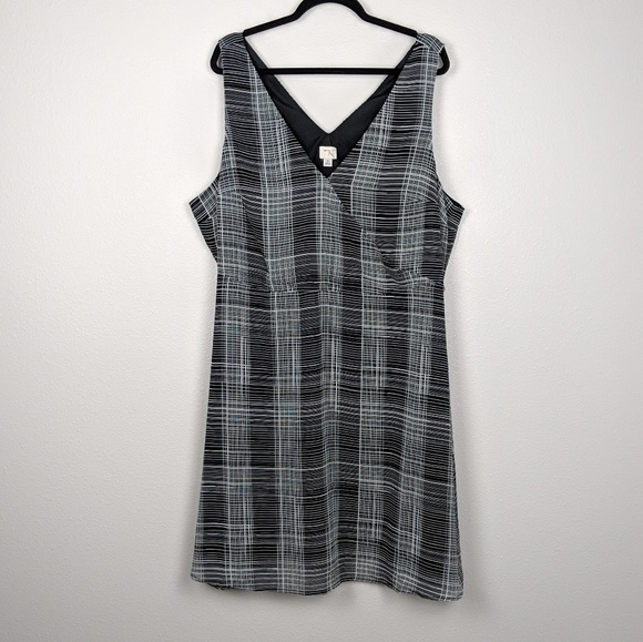 a new day Dresses & Skirts - A New Day Plaid Grid Surplice Neckline Dress NWOT